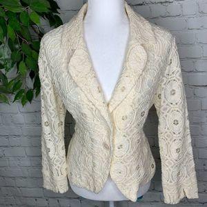🌻Adrienne Vittadini Ivory Lace 1 Button Blazer LG